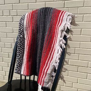 Mexican Serape Throw Blanket Red and White Oland